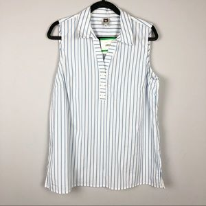 Anne Klein Striped Sleeveless Blouse Large White